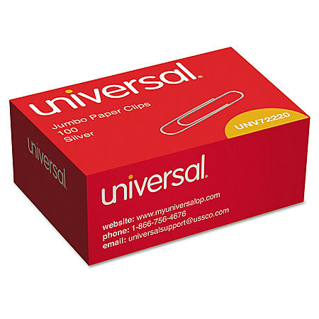 Universal Smooth Paper Clips, Jumbo, Silver, 100/Box, 10 Boxes/Pack