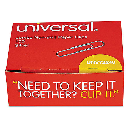 Universal® Nonskid Paper Clips, Wire, Jumbo, Silver, 1000/Pack