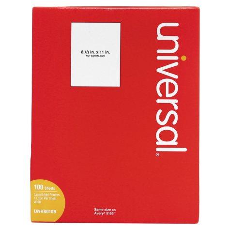 "Universal® Laser Printer Permanent Labels, 8 1/2"" x 11"", White, 100/Box"