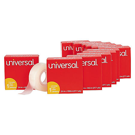 "Universal® Invisible Tape, 3/4"" x 1000"", 1 Core, 12/Pack"