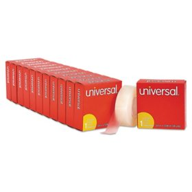 "Universal Invisible Tape, 3/4"" x 1296"", 1"" Core, Clear, 12pk."