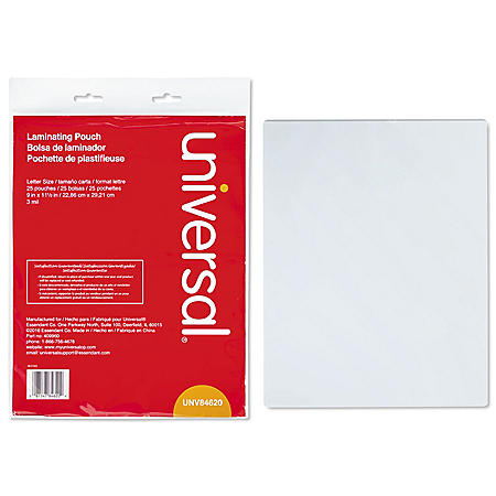 """Universal® Clear Laminating Pouches, 3 mil, 9"""" x 11 1/2"""", 25/Pack"""