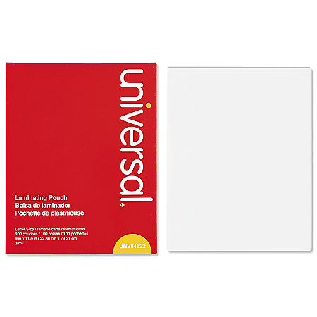 "Universal Clear Laminating Pouches, 3 mil, 9"" x 11 1/2"", 100ct."
