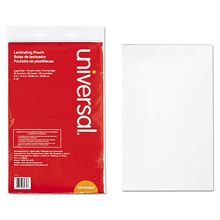 """Universal® Clear Laminating Pouches, 3 mil, 9"""" x 14 1/2"""", 25/Pack"""