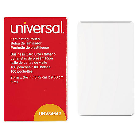 "Universal® Clear Laminating Pouches, 5 mil, 2 1/4"" x 3 3/4"", Business Card Size, 100/Box"