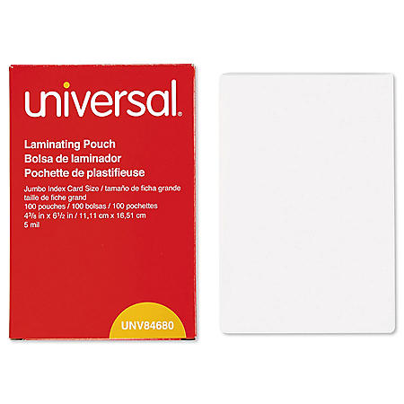 "Universal® Clear Laminating Pouches, 5 mil, 4 3/8"" x 6"" 1/2"", Photo Size, 100/Box"