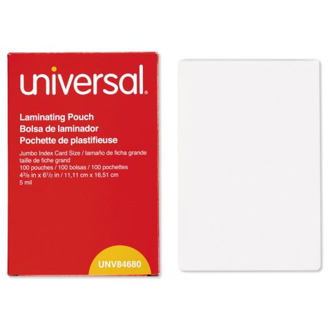 """Universal® Clear Laminating Pouches, 5 mil, 4 3/8"""" x 6"""" 1/2"""", Photo Size, 100/Box"""