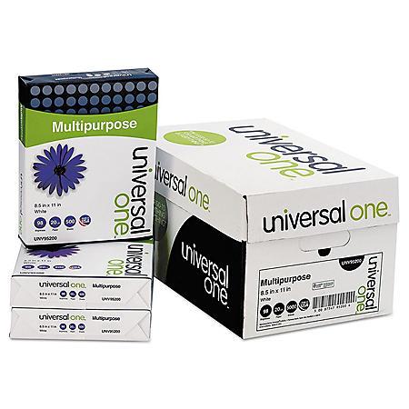 "Universal Multipurpose Paper, 98 Brightness, 20 lb., 8.5"" x 11"", Bright White, 5000 Shts/Ctn"