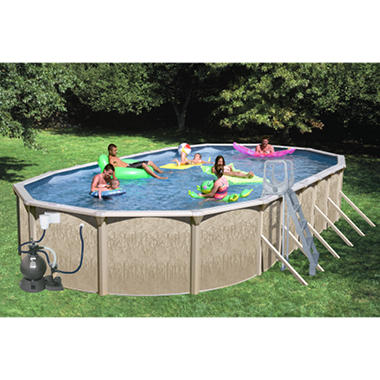 Sun N Fun Galaxy View Oval Above Ground Pool Package - 33' x 18' x 52