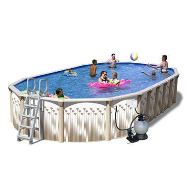 Sun N Fun Galaxy View Space Saver Oval Above Ground Pool Package - 30' x 15' x 52