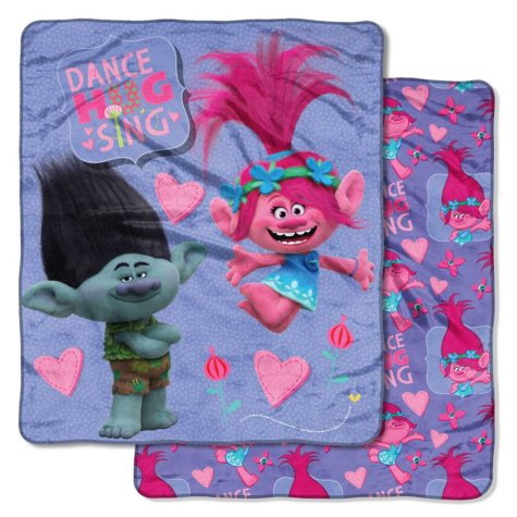 "DreamWorks Trolls ""New Fun"" Double-Sided Cloud Throw, 60"" x 70"""