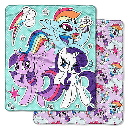 """Hasbro's My Little Pony """"Sticker Pals"""" Double-Sided Cloud Throw, 60"""" x 70"""""""