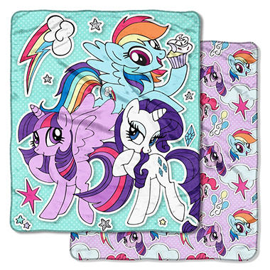 "Hasbro s My Little Pony ""Sticker Pals"" Double-Sided Cloud Throw 1c1c9264c"