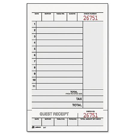 OFFLINE- Adams - Guest Check Unit Set, Carbonless Duplicate, 7 1/4 x 4 1/4 -  250/Pack