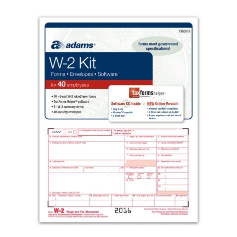 Adams 2016 W-2 Tax Forms Kit