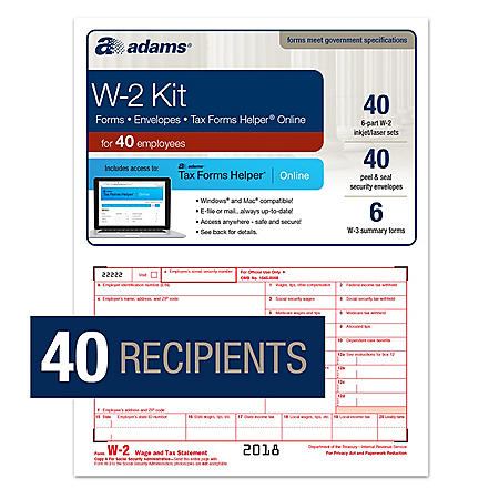 W-2 Forms for 40 Employees, TFH Online & 40 Envelopes