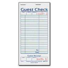 Adams 1-Part Guest Check with Stub - 50 Checks/book - 20 pk.