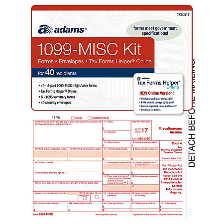 Adams 2019 1099-MISC Tax Kit and 1096 Laser Tax for 40 Recipients