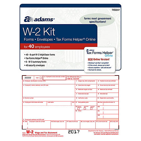 Adams W-2 Tax Forms Kit w/Tax Forms Helper® Online, 2017 (40 pk.)