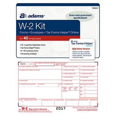Adams W 2 Tax Forms Kit W Tax Forms Helper Online 2017 40 Pk