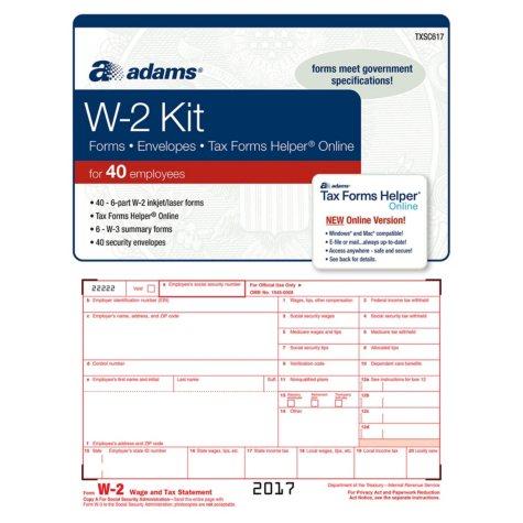 Adams W-2 Tax Forms Kit w/Tax Forms Helper® Online, 2017 (40 pk.)
