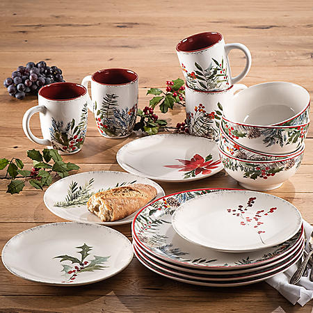 American Atelier Winter Floral Porcelain 16-Piece Dinnerware Set