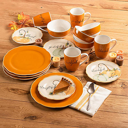 American Atelier 16-Piece Holiday Harvest Blessing Porcelain Dinnerware Set