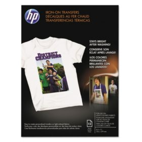 "HP Iron-On Transfers, 8.5"" x 11"", White, 12/Pack"