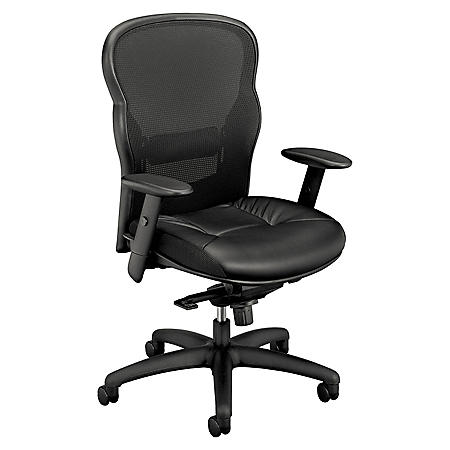 basyx VL701 Series Leather  High-Back Swivel/Tilt Work Chair, Black