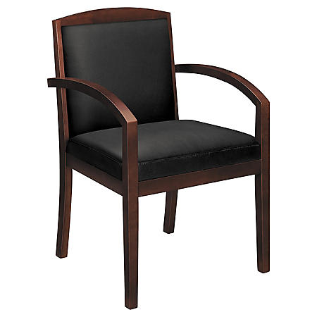 basyx VL850 Series Leather Wood Guest Chair, Black/Mahogany