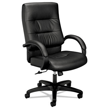 basyx VL690 Series Leather Executive High-Back Chair, Black