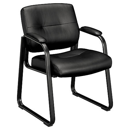basyx VL690 Series Leather Guest Chair, Black