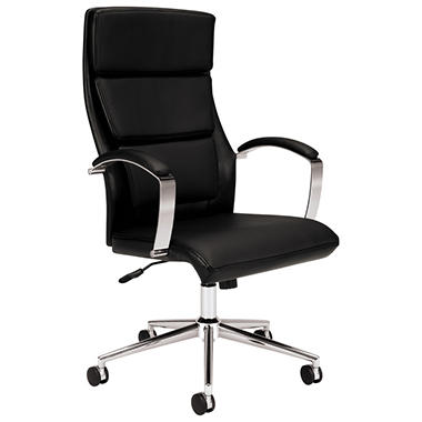 basyx VL105 Series Executive High-Back Leather Chair, Black