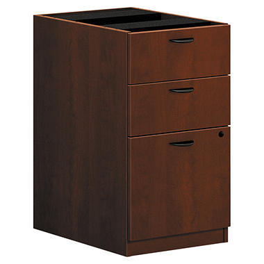 basyx by HON - BL Laminate 3-Drawer Pedestal File Cabinet, Medium Cherry (15-5/8