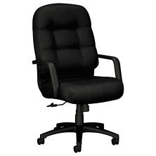 HON - 2090 Pillow- Soft Executive High- Back Swivel/Tilt Chair - Black Fabric/Black Base