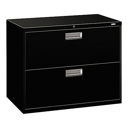 "HON 36"" 600 Series 2-Drawer Lateral File Cabinet, Black"