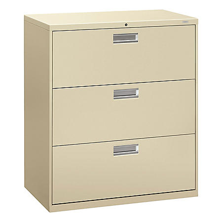 HON 600 Series Three-Drawer Lateral File, 36w x 18d x 39.13h, Assorted Colors