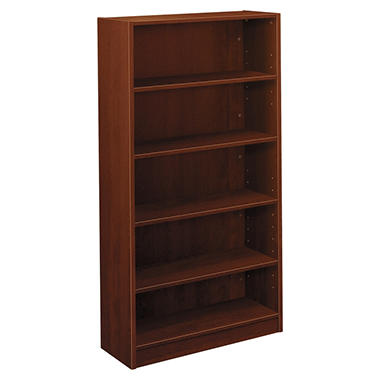 Basyx BL Laminate Series Bookcase, 5 Shelves, 32w x 13.81d x 65.18h, Medium Cherry