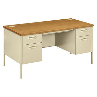 HON Metro Classic Double Pedestal Desk, Harvest/Putty