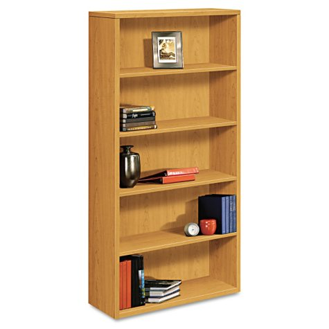 "HON 36"" Wide 10500 Series 5-Shelf Laminate Bookcase, Harvest"