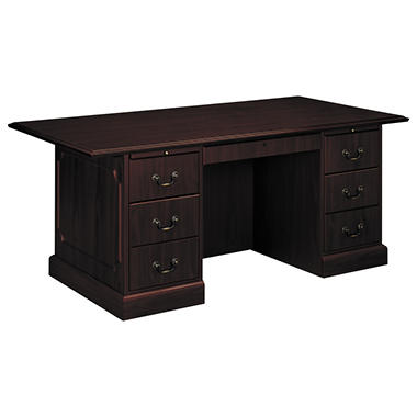 HON Series Double Pedestal Desk Mahogany Sams Club - Hon computer table