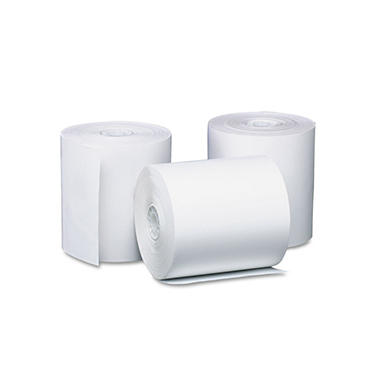 PM Company Single-Ply Thermal Cash Register/POS Rolls, 3-1/8