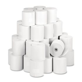 """PM Company - Single-Ply Thermal Cash Register/POS Rolls, 3-1/8"""" x 273 ft., White - 50/Carton"""