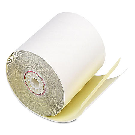 """Iconex Impact Printing Carbonless Paper Rolls, 3"""" x 90 ft, White/Canary, 50/Carton"""