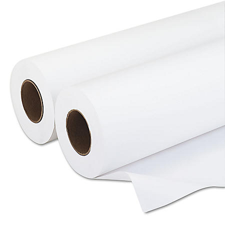 "Iconex Amerigo Wide-Format Paper, 3"" Core, 20 lb, 36"" x 500 ft, Smooth White, 2/Pack"