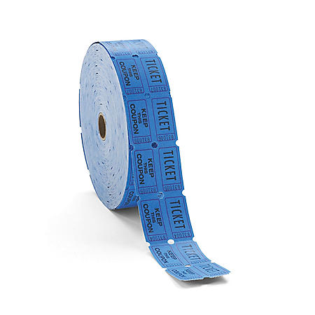 PM Company -  Double Ticket Roll, Blue -  2000 Tickets/Roll