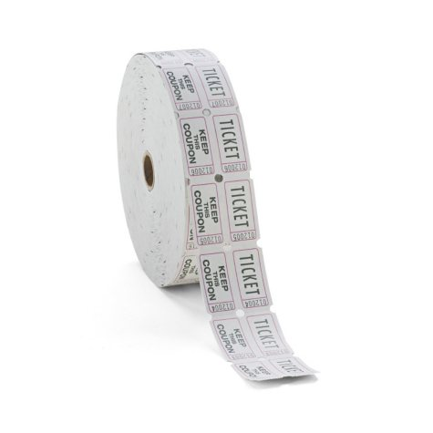 PM Consecutively Numbered Double Ticket Roll - White - 2,000 ct.