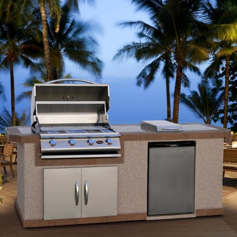 Cal Flame 8' Stucco BBQ Island with Bar Depth Top and 4-Burner Gas Grill