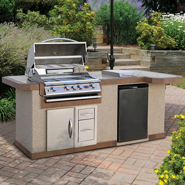 Cal Flame 8' Stucco BBQ Island and Side Bar with 4-Burner Gas Grill