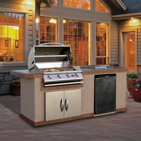 Cal Flame 7' Stucco BBQ Island with 4-Burner Gas Grill and Built In Umbrella Stand